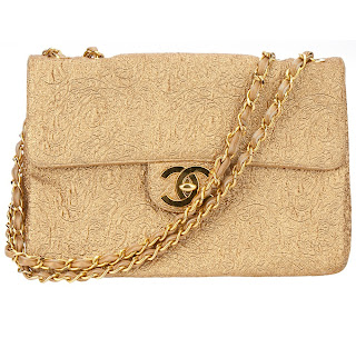 Vintage gold brocade Chanel bag with gold hardware