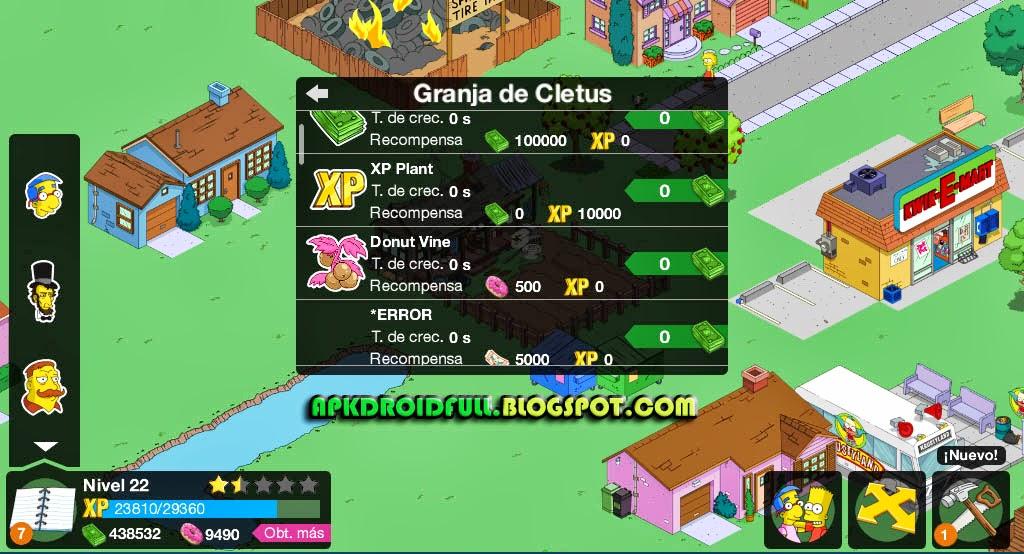 Simpson+hack+android+granja+de+cletus+cletus+hack+springfield+juego