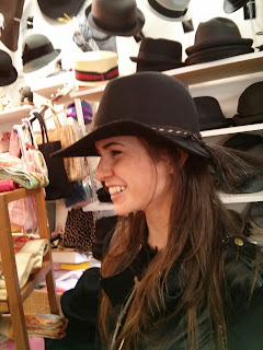 wide brim floppy hat on young woman