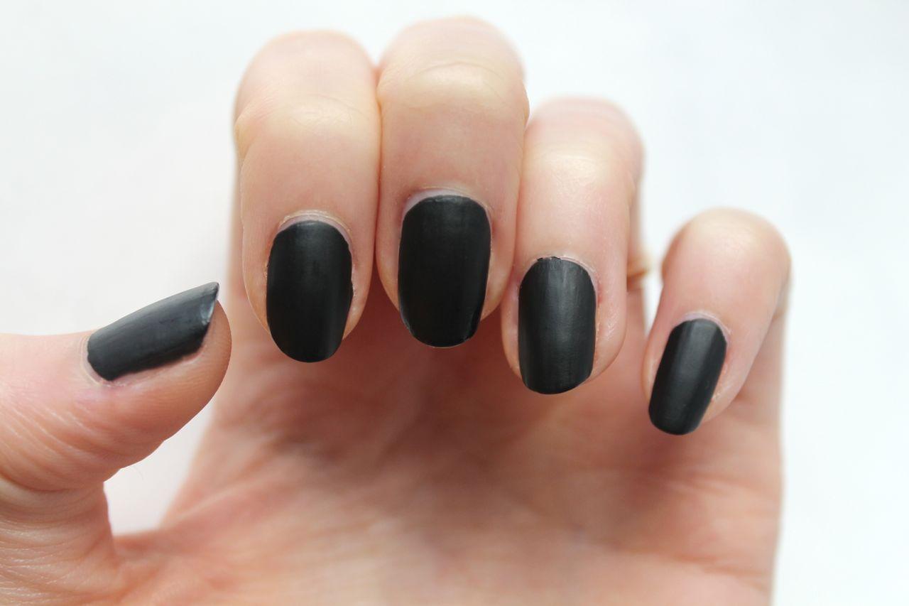 matte black nail effect