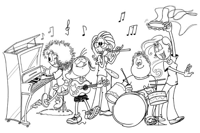 صورة اطفال يشكلون فرقة موسيقية للتلوين