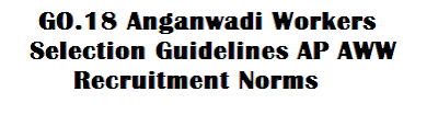 Anganwadi Helpers and certain parameters to be adopted for the selection of Anganwadi Workers,AP Go.18 Anganwadi Workers Selection/Recruitment/Appointment Guidelines