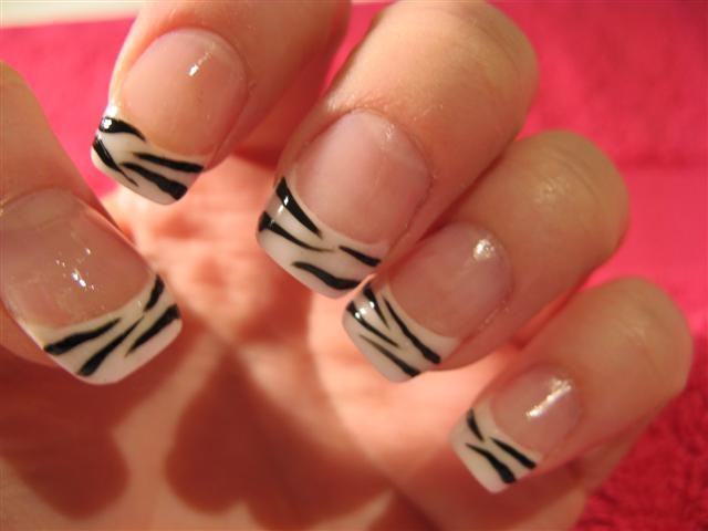 Zebra Print French Tip Nails