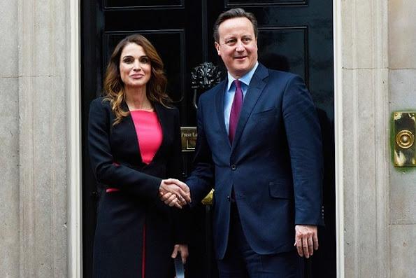 Queen Rania of Jordan meets British Prime Minister David Cameron at Number 10 Downing Street