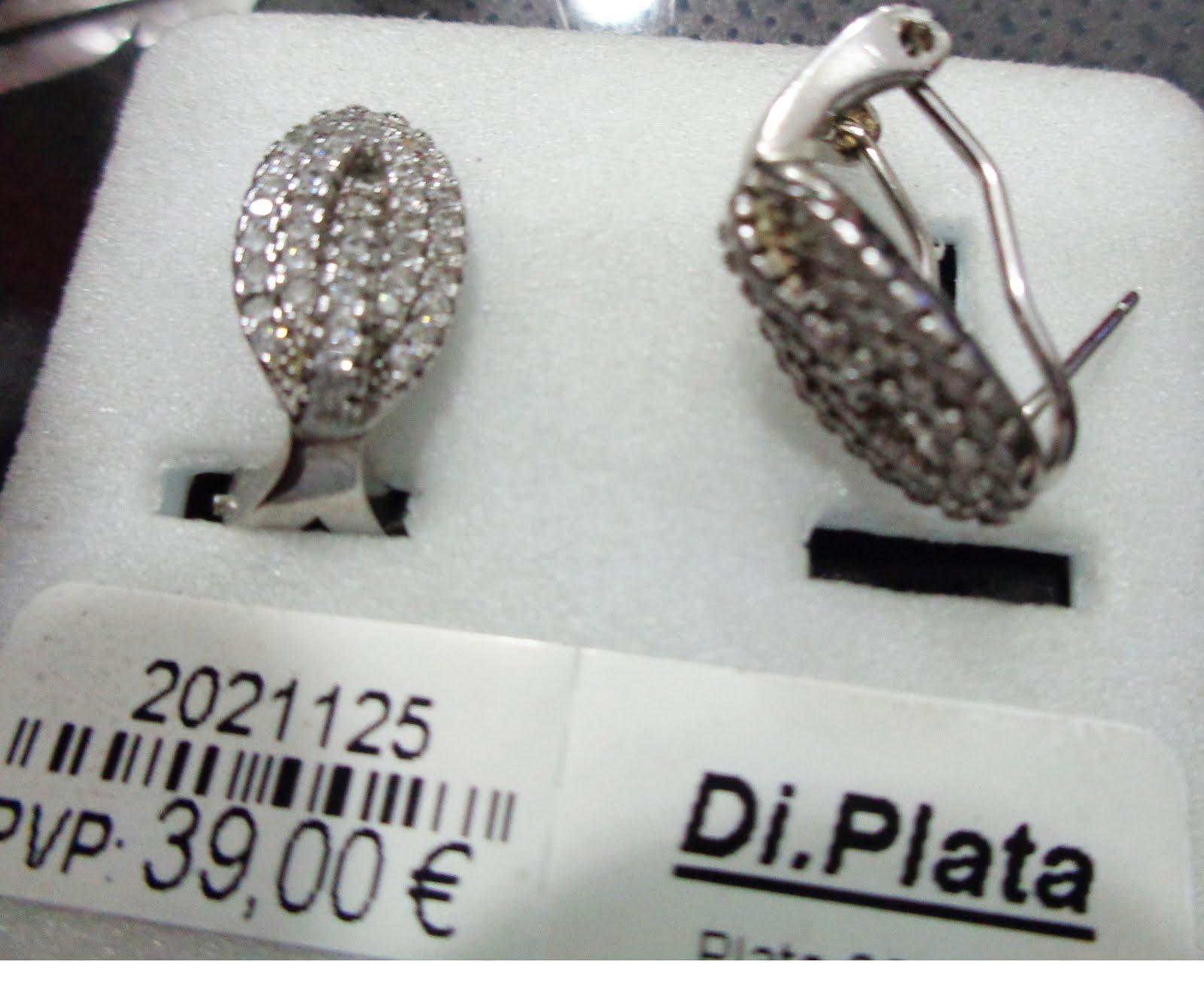 Pendientes de plata y circonitas con cierre omega