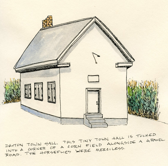 drawing of a rural Minnesota town hall in a corn field