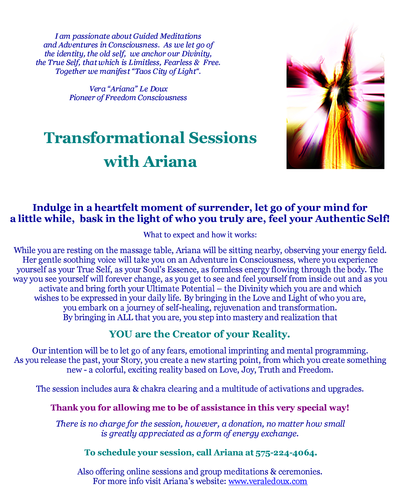 Transformational Sessions with Ariana