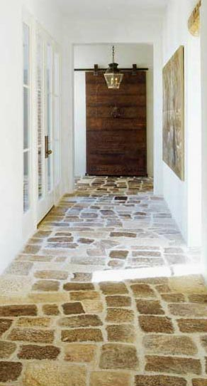 Reclaimed Stone Flooring via Chateau Domingue a seen on linenandlavender.net