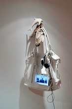 Video Bag (David Hammons Toy with Egypt and Libya), 2011  Wood, ceramic dolphin, purse, DVD player,