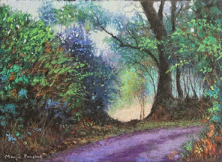An original soft pastel painting of morning walk in Coorg by Manju Panchal
