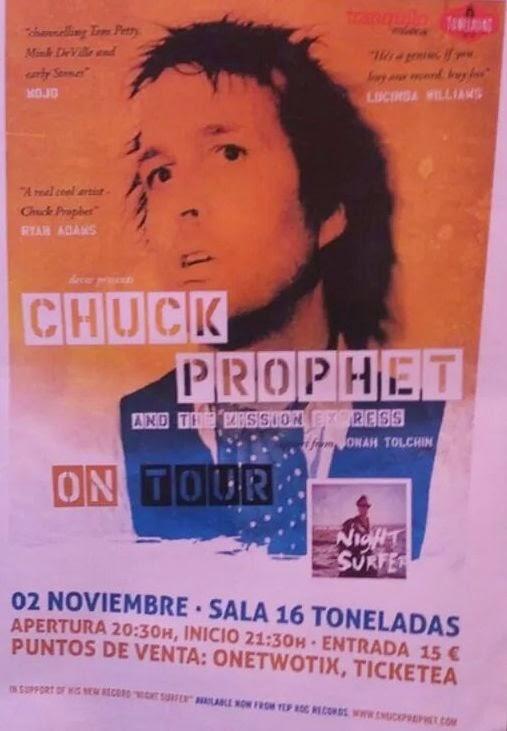 cartel Chuck Prophet, 16 Toneladas, Valencia, 2-11-2014