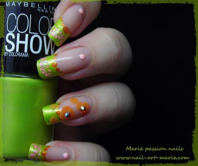 Nail Art French fleurie2