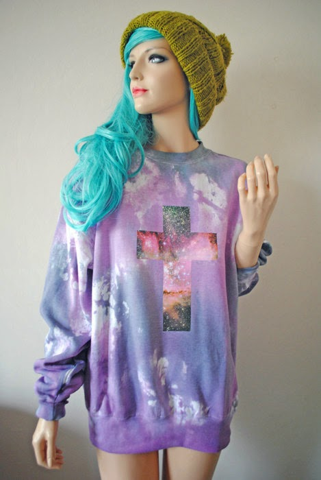 pastel goth creepy cute witch witchy etsy accessories inspiration cute kawaii jumper tie dye pastel pink lavendar purple lilac galaxy print cross