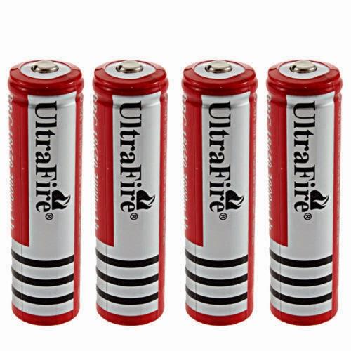 4X UltraFire 18650 3000mAh 3.7V Rechargeable Li-ion Battery for Led Flashlight