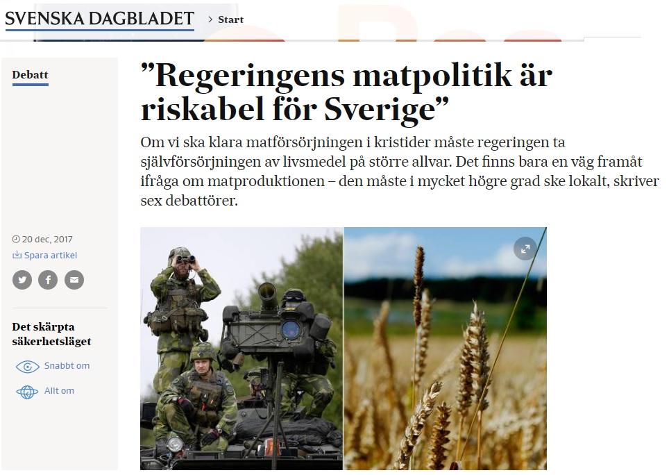 Johan skriver i SvD Debatt om Sveriges livsmedelsförsörjning och nya civilförsvar