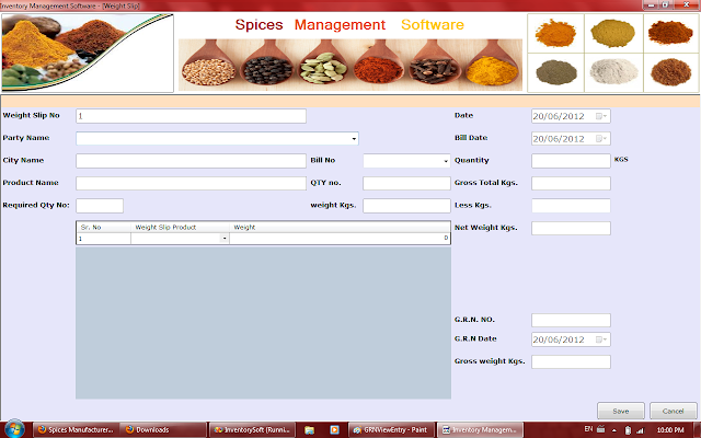 Weight Slip Entry in Spices Software in Rajkot,Gujarat,India