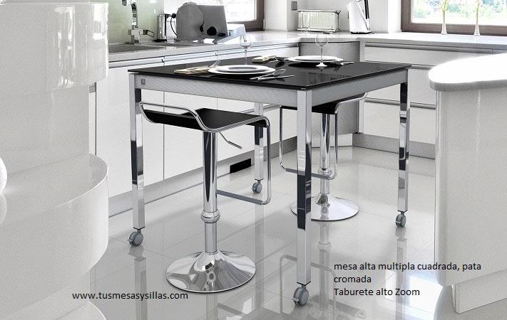 Mesa de cocina y comedor multipla a medida y barra de for Mesas altas de cocina