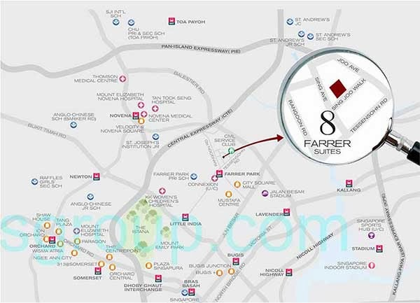 8 Farrer Suites Location Map