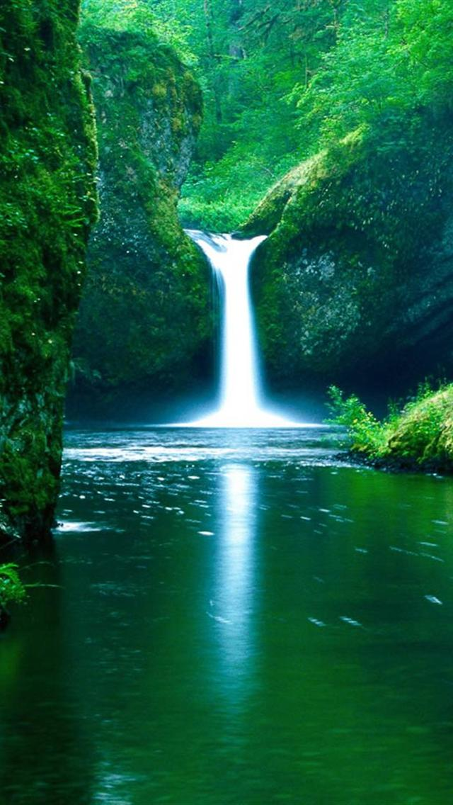 beautiful green waterfall and lake iphone 5 wallpapers hd