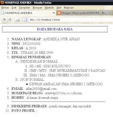 Membuat Biodata dengan Coding HTML