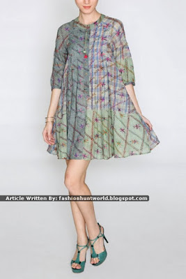 Green Sleeveless Chiffon Tunic / Green Printed Quarter Sleeves Flared Tunic
