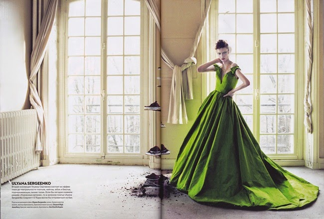 Ulyana Sergeenko Couture 2013 SS Editorial: Pea-Green off-the-Shoulder Gown with Deep V Neckline