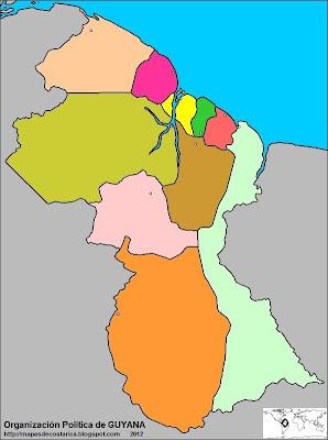 Mapa de la organización política de GUYANA