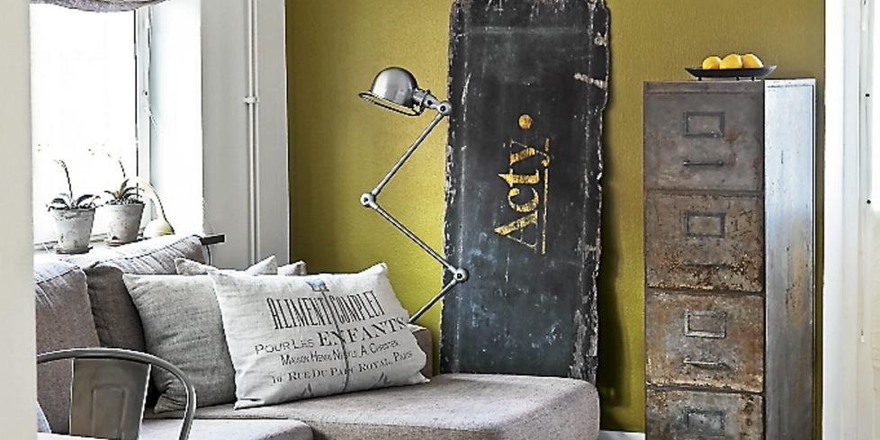 Industriell stil, metall, grått, rustikk stil, industrilamper ...