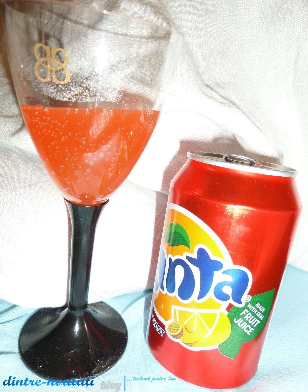 Băutură răcoritoare carbogazoasă cu suc de fructe obținut din concentrat, zahăr și îndulcitori