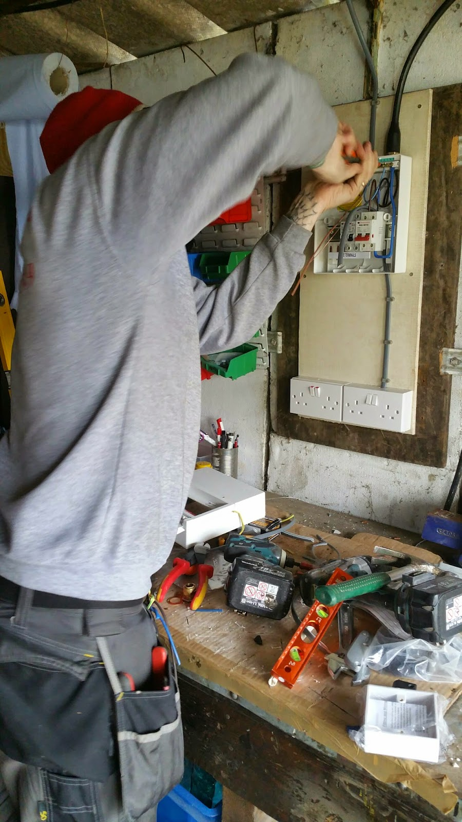 Renovating an old stone cottage: Rewiring - garage electrics added