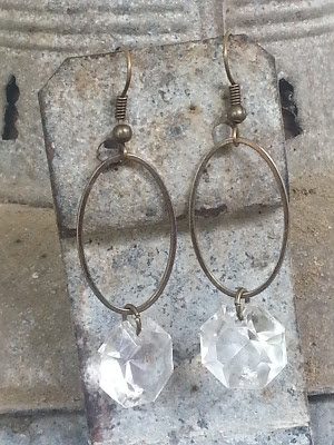 assemblage earrings made from recycled belt part and vintage chandelier crystals