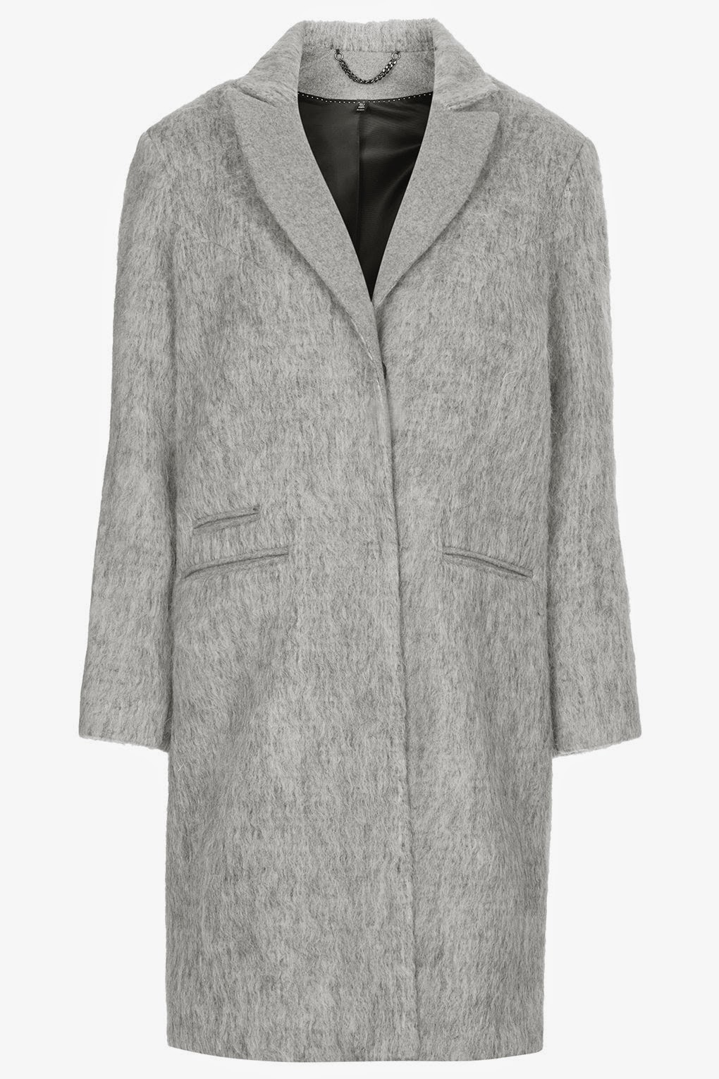 grey fluffy coat topshop