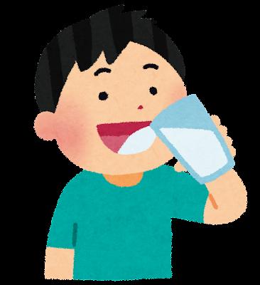 水を飲んでいる男の子のイラスト