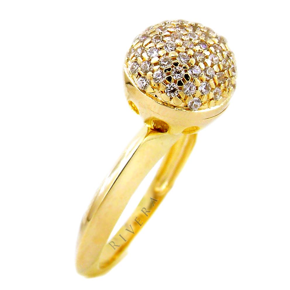 anel bola semi joia com zirconias