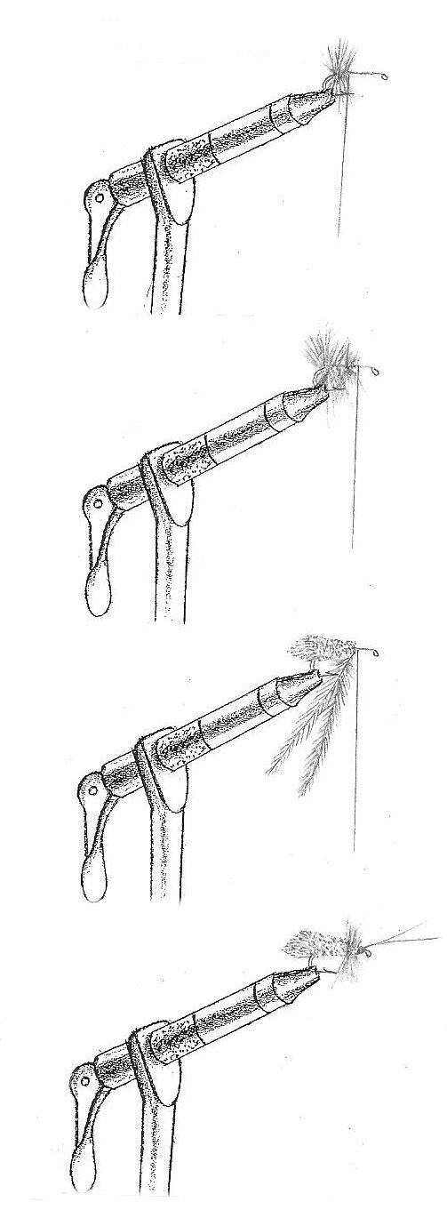 drawing showing the stages of tying the Goddard Caddis