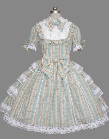 Vintage Printed Bow Rococo Lolita Dress
