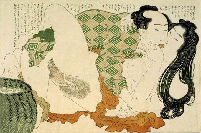 Shunga de Katsushika Hokusai, serie Fukujusō (planta de Adonis)