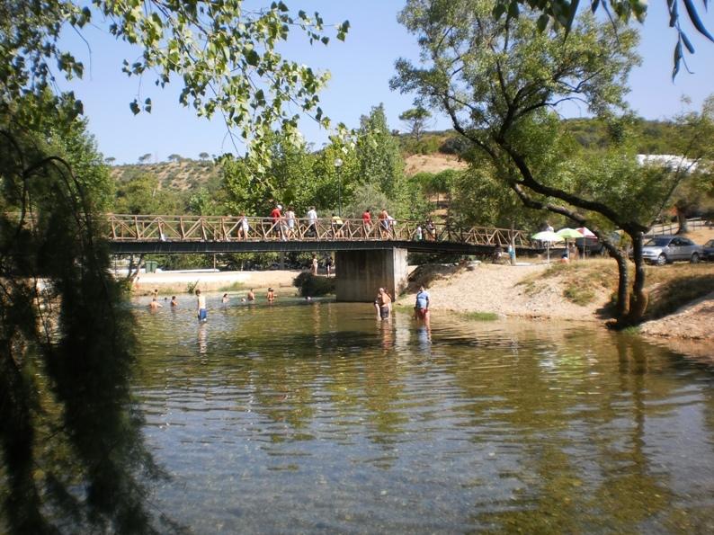 Agua para tomar banho debaixo da ponte de madeira