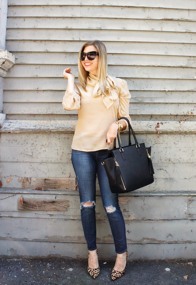 pussy bow blouse, J Brand jeans, H&M bag, House of Harlow Chelsea, Nine West Flax leopard