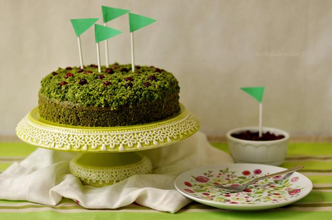 przepis na, ciasto, ze szpinakiem, leśny mech, zielone, suszona żurawina