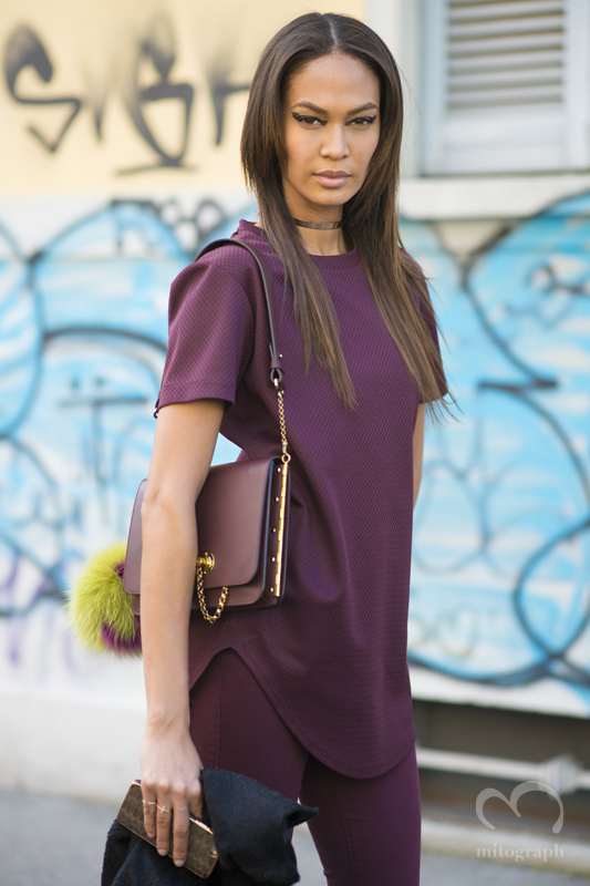 Model Joan Smalls leaves FENDI 2015-2016 Fall Winter season Milan Fashion Week MFW