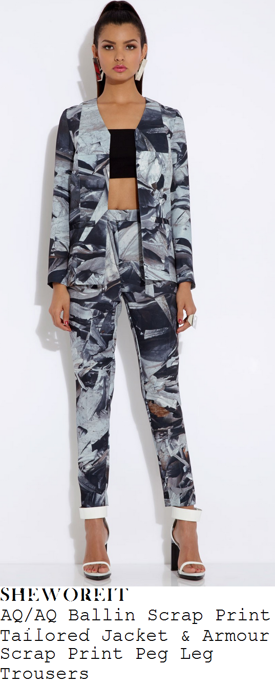 sam-faiers-grey-silver-and-black-abstract-scrap-metal-print-tailored-blazer-jacket-and-trouser-suit-this-morning
