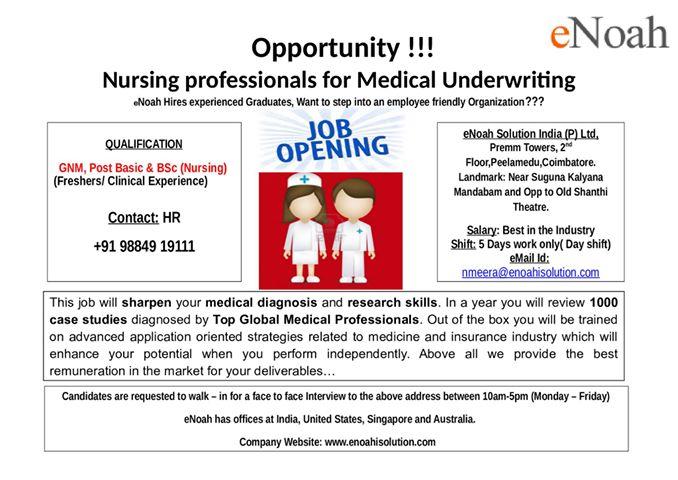 Medical Underwriting jobs for Nurses at Coimbatore June 2015 ...