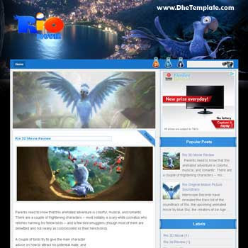 Rio Movie blogger template. template blog for movie. blogger template magazine style. blogger template with image slideshow