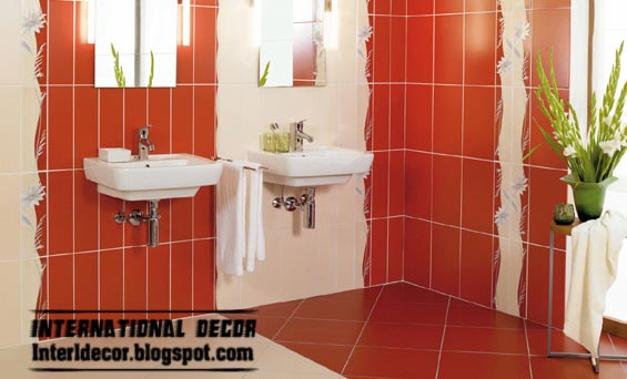 modern red tiles designs ideas for bathroom wall and floor