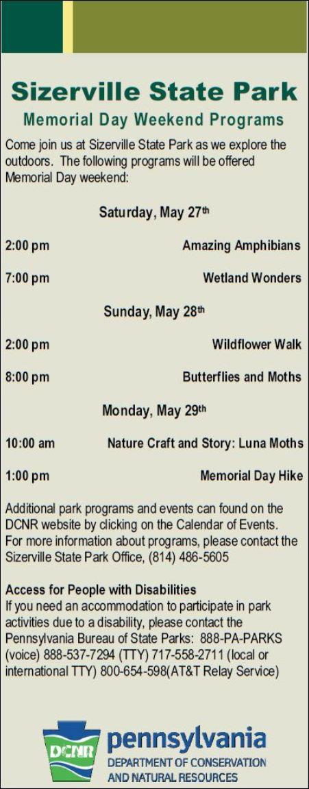 5-27/28/29 Sizerville State Park Programs