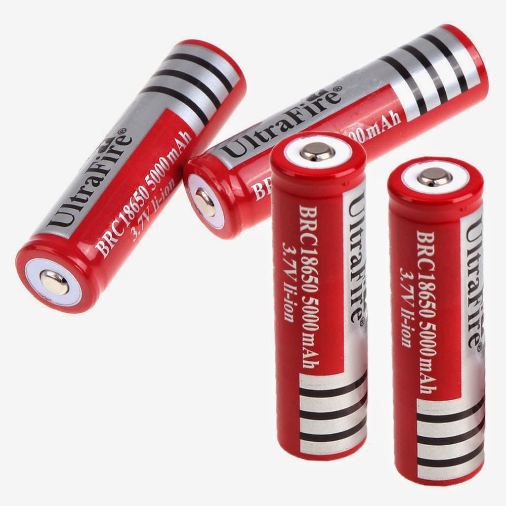 New 4x UltraFire 18650 5000mAh 3.7V Li-ion Rechargeable Battery for Flashlight