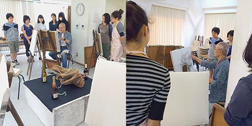 横浜美術学院の中学生教室 美術クラブ 手で描く!指で描く!「木炭デッサン」 木炭の使い方のレクチャー