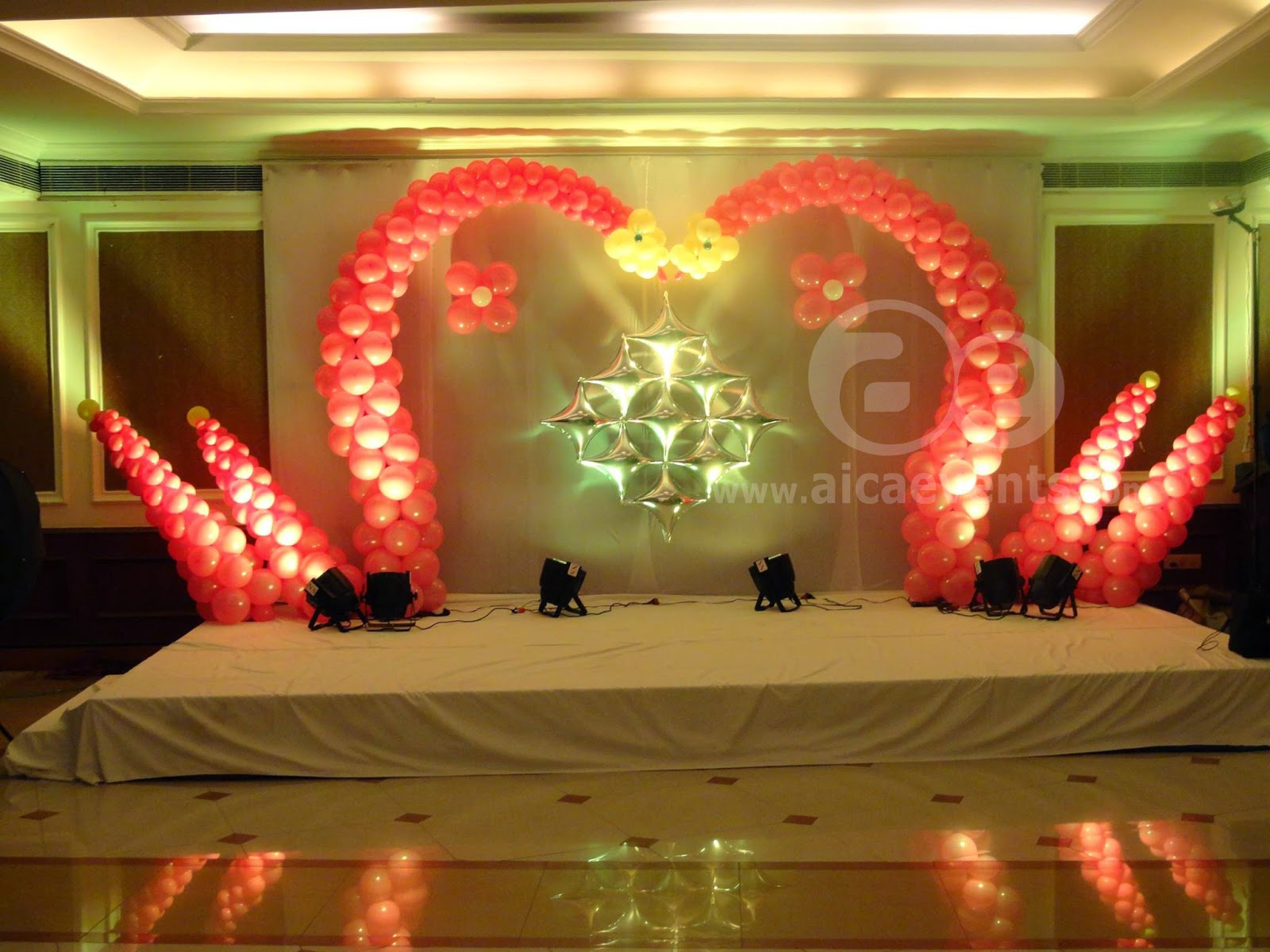 Aicaevents balloon decorations with different stage back for Balloon decoration ideas for birthdays