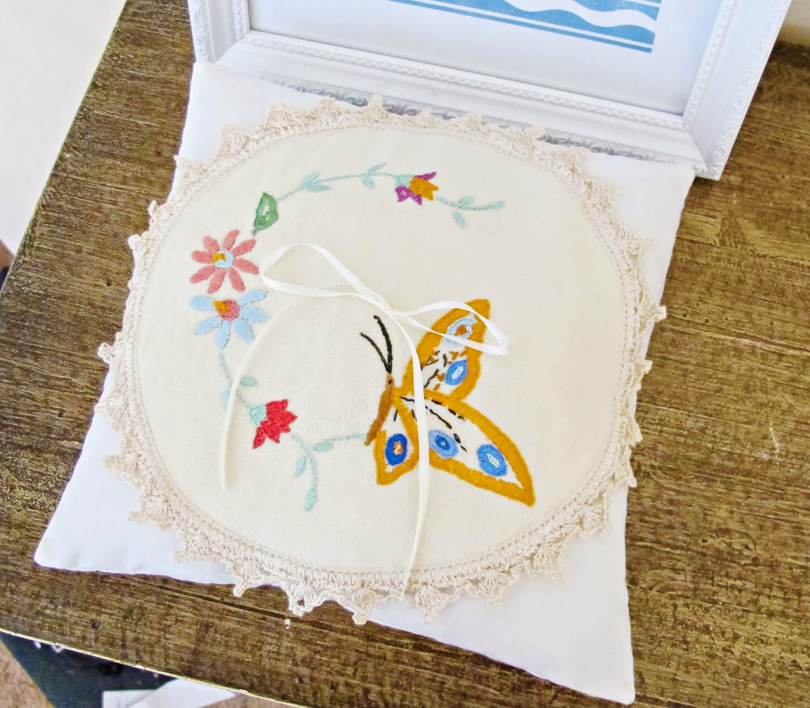 image shabby chic ring bearer pillow wedding ring butterfly flowers embroidery vintage doily linen domum vindemia